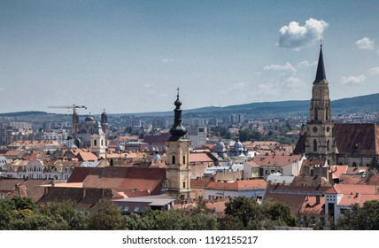 CLUJ-NAPOCA,  TRANSYLVANIA, ROMANIA - AUGUST 21, 2018:  Aerial view of the city  on August 21, 2018 in  Cluj-Napoca.