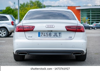 Cluj-Napoca/Cluj/Romania-08.05.2019-Audi A6,sedan,manufactured in 2016,TDI Ultra,Automatic CVT,registered in Spain,White pearl,Sline package,chrome trim,parking sensors,isolated in a parking lot