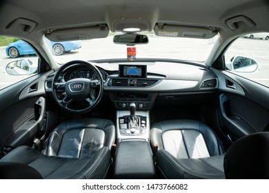 Cluj-Napoca/Cluj/Romania-08.05.2019-Close-up photo of a luxurious leather interior of an Audi A6, year of manufacture 2016. Black leather, large navigation, automatic gearbox, reversing camera,Sline.