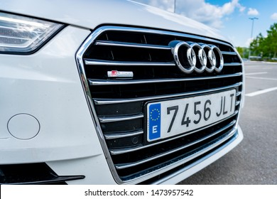 Cluj-Napoca/Cluj/Romania-08.05.2019-front bumper of an Audi A6-C7, year 2016, Sline model,chrome grille,alloy wheels, pearl white color,tinted windows,led lights, matrix,fog lights,bonnet