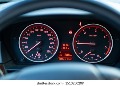 Cluj-Napoca,Cluj/Romania-09.14.2019-BMW series 5 dashboard instrument cluster, speedometer, hand brake icon, turometer, fuel level