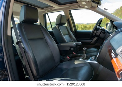 Cluj-Napoca,Cluj/Romania-09.20.2019-Black leather upholstery, luxurios interior of LandRover HSE Freelander 2 with panoramic big sunroof