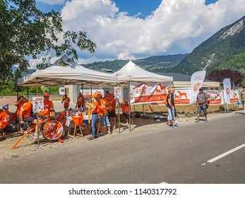 CLUSES, FRANCE - JULY 25, 2018: A stand for the Protection of Animals by the roadside which the Tour de France pass en route to Col de Columbriere on Stage 10 of Tour de France