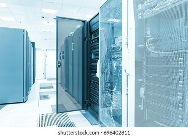 cluster disk storage with the door open in the data center. Big data