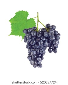 Cluster fresh juicy organic grapes with green leaf. Isolated on white background