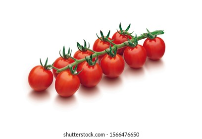 Cluster of fresh red cherry tomatoes isolated on a white background