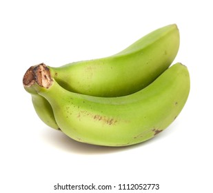 a cluster of green bananas isolated on white background