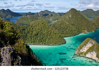 A cluster of limestone islands make up a group called Wayag in northern Raja Ampat, Indonesia.  The islands are uplifted reefs millions of years old.