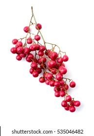 cluster of pink peppercorns isolated