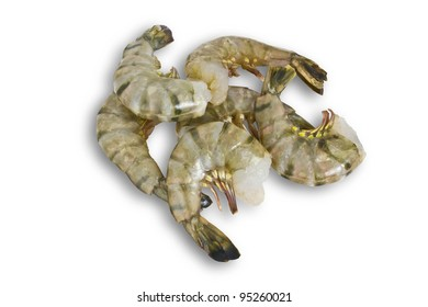 A Cluster of Raw Shrimp Isolated on White