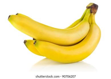 cluster ripe banana isolated on white background
