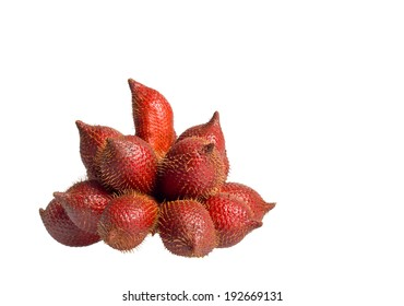 Cluster of ripe Salak on isolate white background