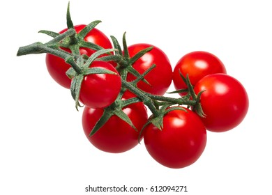 Cluster of tiny cherry tomatoes (ciliegini, pachino, cocktail) on the vine. Clipping paths
