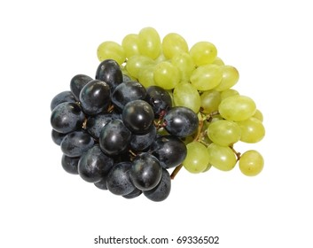Clusters of black and green grapes on a white background