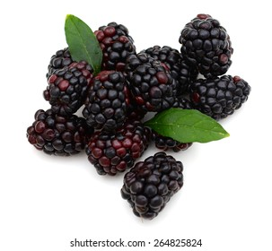 clusters of blackberries with green leaves isolated on white