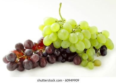 clusters of red and white grapes