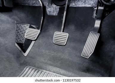 Clutch, brake, accelerator of a car