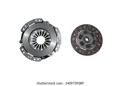 clutch disc and clutch basket on a white background