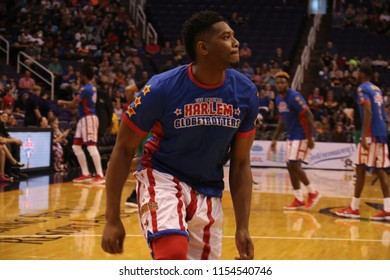 Clutch forward for the Harlem Globetrotters at Talking Stick Resort Arena in Phoenix Arizona USA August 11,2018.