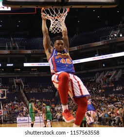 Clutch forward for the Harlem Globetrotters at Talking Stick Resort Arena in Phoenix,Arizona USA August 11,2018.