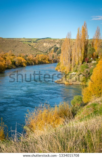 Clutha River sparkles against an autumnal backdrop, Roxburgh, New Zealand.