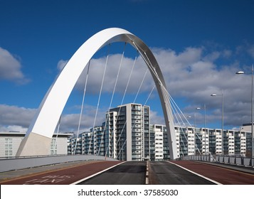 The Clyde Arc or squinty bridge in Glasgow, Scotland, against a blue sky