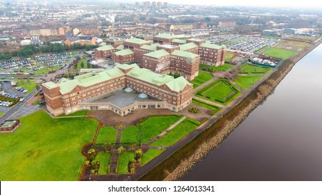 Clydebank, Glasgow, Scotland; December 10th 2018: Low level aerial image of the Golden Jubilee National Hospital beside the River Clyde.