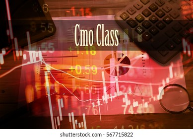 Cmo Class - Hand writing word to represent the meaning of financial word as concept. A word Cmo Class is a part of Investment&Wealth management in stock photo.