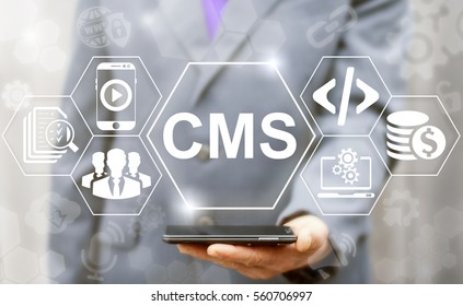 CMS business web computer website administration concept. Content management system SEO network internet technology