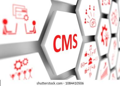 CMS concept cell blurred background 3d illustration