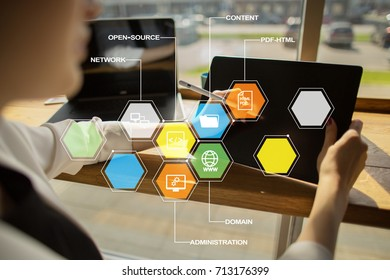 CMS. Content management system applications icons on virtual screen. Business, internet and technology concept.