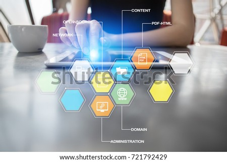 CMS Content Management System Applications Icons Stock Photo