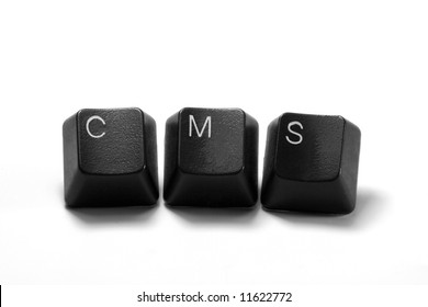 cms content management system - black computer keys, isolated on white background