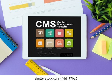 CMS Content Management System Concept on Tablet PC Screen