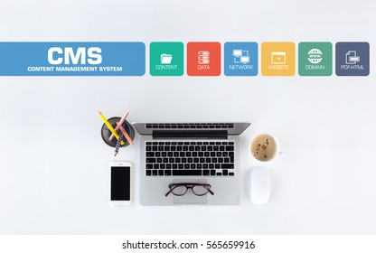 CMS Content Management System Concept with Icon Set