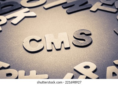CMS (content management system) topic in cut wood letter