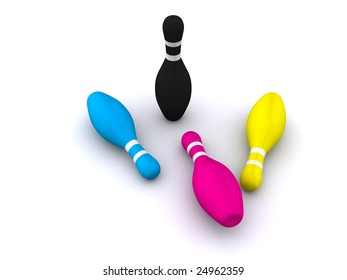 CMYK bowling pins. 3d