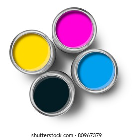 Cmyk color paint tin cans opened top view isolated on white