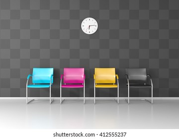CMYK colored chairs in the print shop waiting room