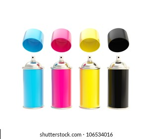 CMYK colored spray oil color cylinders with caps above isolated on white