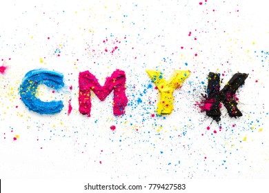 CMYK colour toner for printer cyan magenta yellow on white background