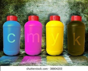 cmyk concept.Primary colors for painting in paint buckets