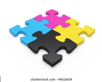 CMYK jigsaw puzzle pieces