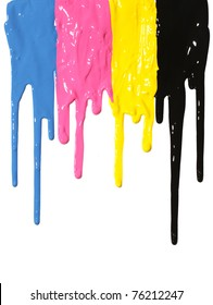 CMYK paint dripping isolated on white