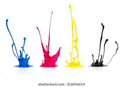 CMYK paint splashing isolated on white