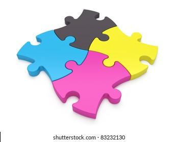 CMYK Puzzle Pieces