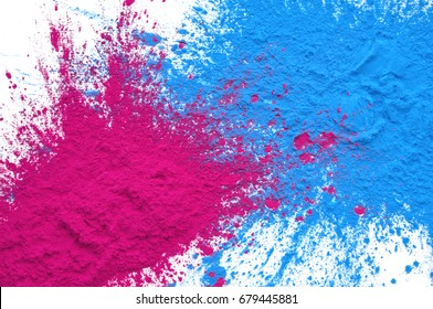 CMYK Toner mixed on white background magenta and cyan