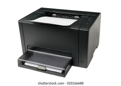 CMYK type color laser printer isolated on white background.