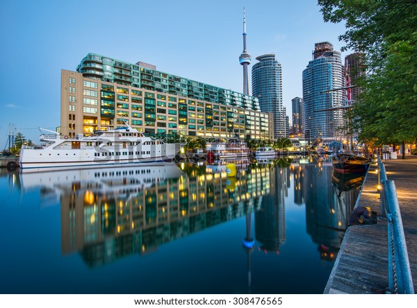 CN tower and Toronto Harbour reflection.