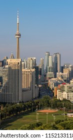 The CN Tower and the Toronto Skyline are seen along the shores of Lake Ontario, August 4, 2018.